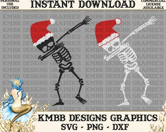 Instant Download - Personal Use - Christmas Dab Dabbing Skeleton SVG PNG DXF - Cut cutting File svg file Shirt Cup Mug Designs Wall Art