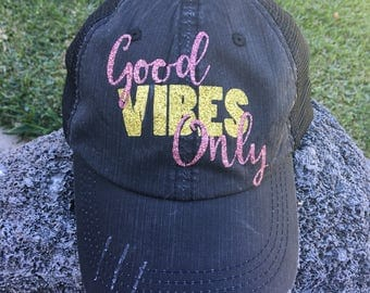Good Vibes Only Distressed Trucker Hat women baseball cap laid back chill adjustable fit mesh back grey velcro swag custom personalized gift
