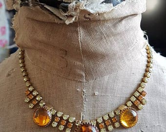 Vintage two tone Amber colour diamanté Art Deco paste necklace wedding bride