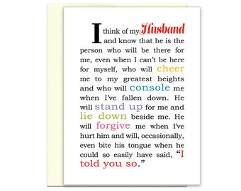 Gift for Husband | Anniversary Gift | Husband Gift | Love Note for Him | Love Quote for Him | Husband Gift Ideas | Card for Husband  Hubbie