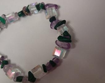 """Ametrine + Malachite +Swarovski stretch bracelet-  8 1/2"""""""