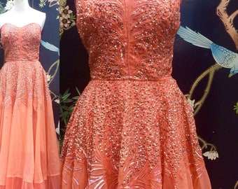 Vintage Queen! Rare Full length 50s sequinned corset Glam party prom dance dress
