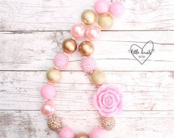 Pink & Gold chunky bubblegum necklace, Chunky necklace, 1st birthday, smash cake, Pink and Gold first birthday, Pink and Gold birthday
