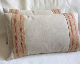 Two Designer Lumbar Pillows - Beige Linen Lumbar Pillows - Webbing Detail - 12x20 Covers