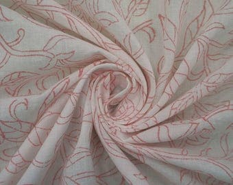 "Off White Fabric, Floral Hand Block Print, Apparel Fabric, Home Decor Accessories, 44"" Inch Cotton Fabric By The Yard ZBC8797A"