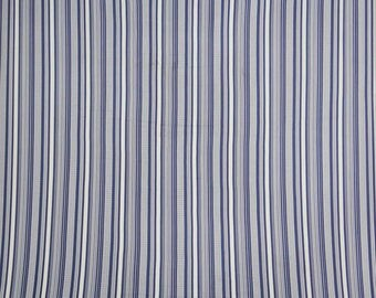"""Indian Polyester Fabric, Stripe Print, Blue Fabric, Dressmaking Fabric, Home Decor, 54"""" Inch Fabric By The Yard ZBP31A"""