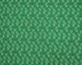 "Green Home Decor Fabric, Bird Print, Quilting Fabric, Home Accessories, 43"" Inch Cotton Fabric By The Yard ZBC7317A"