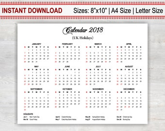 annual calendar 2018 printable