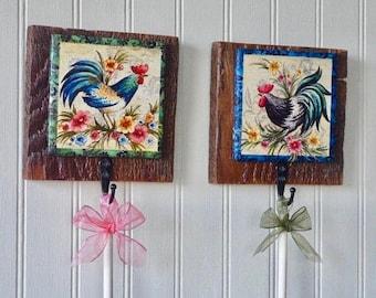 Chicken Wall Hooks, French country decor, kitchen decor, country wall hooks, barn wood decor, chicken decor, farmhouse decor, rustic decor