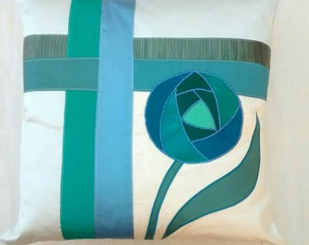 Handmade ice blue silk cushion with jade Rennie Mackintosh rose -  43cm luxury furnishing