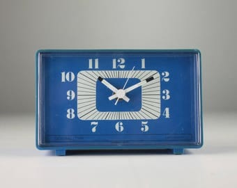 Alarm clock General Time antique Blue retro vintage space age Japan 70s