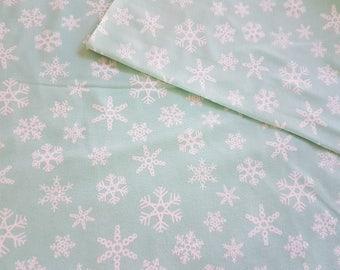 Snowflake - Mint, Cotton Lycra Jersey Knit Fabric