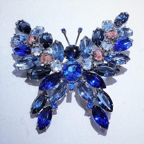 Kenneth Lane Rhinestone Butterfly Brooch Early KJL Mid Century 1960s Produced by Juliana DeLizza Elster for Kenneth J Lane Fashion Designer