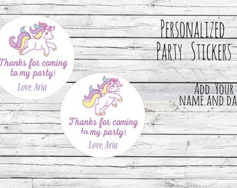 Personalized Stickers 12/20/35 Unicorn Birthday Party Favor Tags, Fairytale Theme, Bag Tags, Thanks for Coming, 1st Birthday , Magical