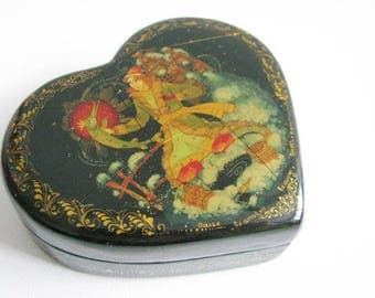 Vintage Heart Shaped Russian Black Lacquer box