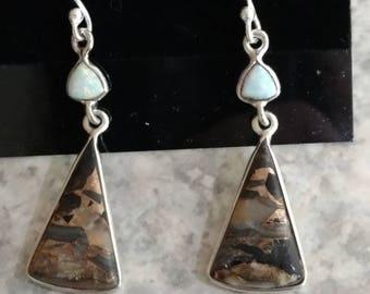 Copper Black Turquoise & Fire Opal Earrings