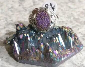 Purple Druzy Ring Size 8 1/4