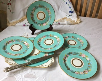 Beautiful Dessert Set Royal Stafford In Garland Pattern Turquoise Floral