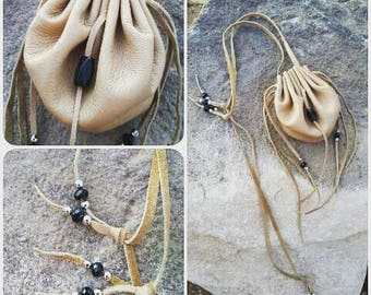 Tan Medicine Bag Necklace * Tan Medicine Pouch Necklace * Tan Leather Medicine Bag * Shaman Bag * Neck Bag * Crystal Pouch