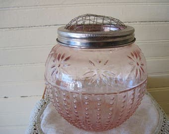 Pink Glass Flower Vase with Metal Frog - Item #1468