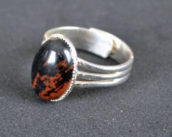 Obsidian ring, Silver obsidian ring, Obsidian silver ring, Black obsidian ring, Obsidian cabochon ring, Ring obsidian silver.
