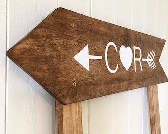 Personalised arrow sign, rustic wedding, rustic wedding decor, wedding signs, wood signs, wedding decor, wedding arrow, directional sign