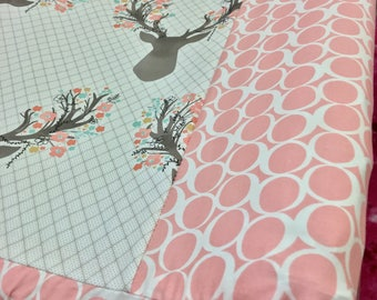 Fancy Stag with Blush Circles Changing Pad Cover, Change Pad Covers, Fawn Tulip Changing Pad Covers.