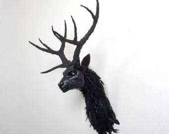 Ravenstag - ooak hand made faux taxidermy head mount