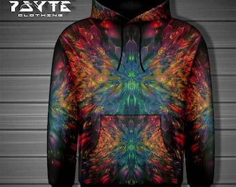 Hoodie, Zip-Up Hoodie, Festival hoodie, Rainbow Fractal, fractal hoodie, Cyberpunk Hoodie,Black,Rainbow, Psytrance hoodie, Rave Hoodie