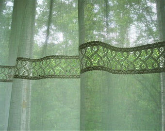 White Linen curtains with lace french cottage style ORIGINAL DESIGN by Luxoteks