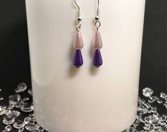 Purple & lilac teardrop dangle earrings