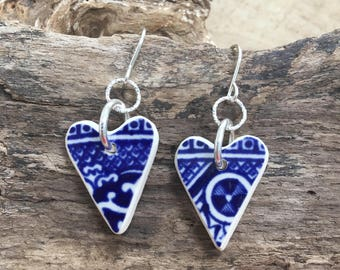 Blue and White Scottish Sea Pottery carved Hearts with sterling silver earrings