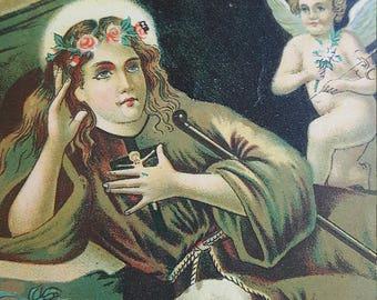Vintage Italian Saint Rosalia Card Religious Catholic Gift St Rosalia Catholic Religious Canivet Card Catholic Art Religious Art