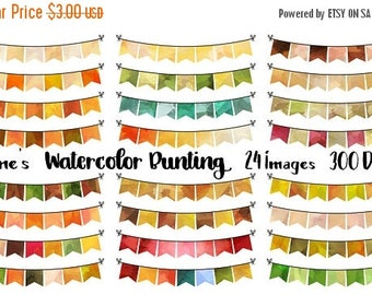 50% OFF Autumn Bunting Clipart - Watercolor Fall Bunting Download - Instant Download - Watercolor Fall Banners - Planner Supplies