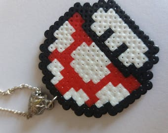 Necklace red and white mushroom beads hama