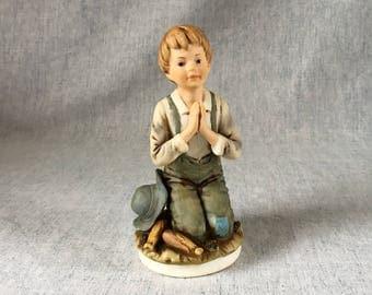 Vintage Roman Child Praying Figurine, 1979 Roman Farm Boy Figurine, Spiritual Gift, Prayer Figurine