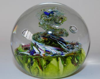 Vintage Caithness Myriad Glass Paperweight With Controlled Bubbles