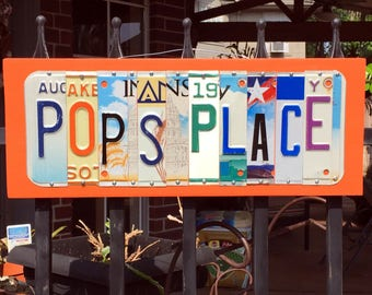 Poppy / Pop / Grandpa's Place/Shed/Garage license plate sign