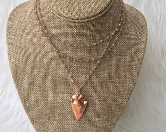 Triple layered arrowhead necklace