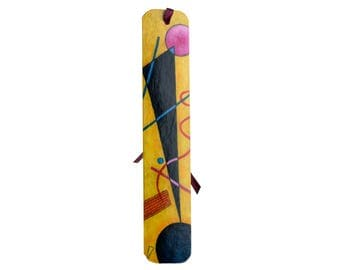 Handpainted paper bookmark with a detail from Kandinskij work