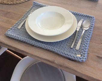 Handmade Placemats, Cotton Placemats, Dining Placemats, Table Placemats,  Knitted Placemats