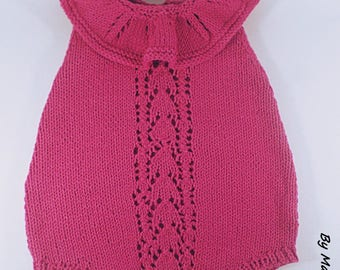 Romper baby (0-3 months) with a wire hand knitted super soft cotton Merino the elegant fuchsia