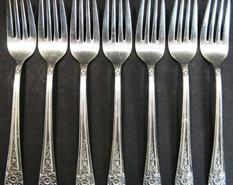 7 Wm Rogers MFG Co Jubilee Dinner Forks International Silver Silverplate 1953
