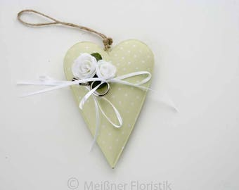 Ring cushion metal heart green with white dots