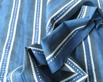 Indigo And White Striped Print Cotton Fabric By The Yard