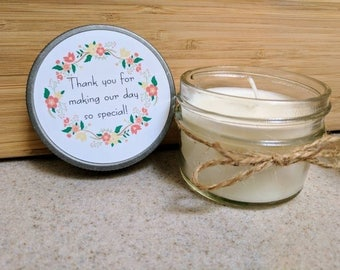 Customizable Party Favor - Wedding - Gift - Bridal - Bridesmaid - Special Occasion - Set of 12 - 4 oz soy candles