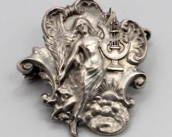 Antique Art Nouveau Pin Lady with Harp & Laurel Brooch Silver 800