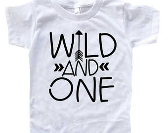 25% Off Christmas in July Wild and one, first birthday shirt, girl birthday shirt, ONE shirt, arrow shirt, 1st birthday outfit, tribal birth