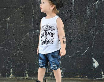 waves shades and babes, toddler tank top, toddler boy graphic tee, stylish boy clothes, trendy boy clothes, cute boy shirt, t shirt, top
