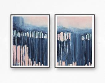 Scandinavian abstract, Printable Art, Art Poster, modern abstract, Industrial Decor, indigo, mint, pink, light pink, large print, navy blue